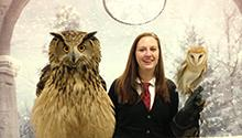 Yule Ball Attendee with owls