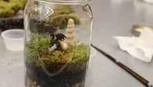 A terrarium with a toy dragon is on top of a table.