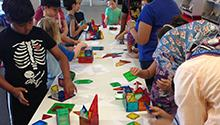 Kids playing with Magna-Tiles