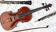 violin with bow clarinet and oboe