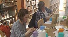 Participants make life-sized Yahtzee pieces