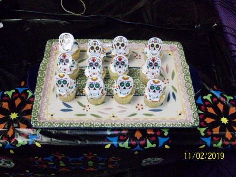 Cupcakes decorated with sugar skulls