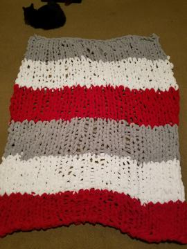 Red, white and gray blanket