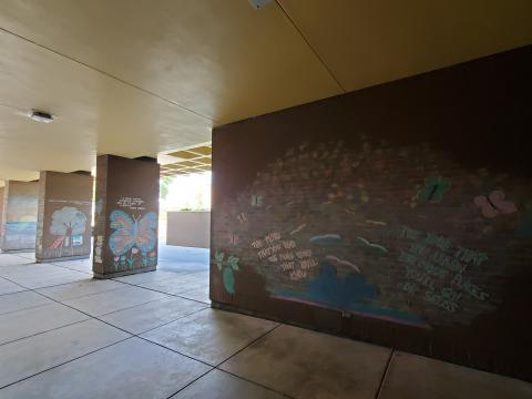 Photo of outdoor escape room, chalk drawings