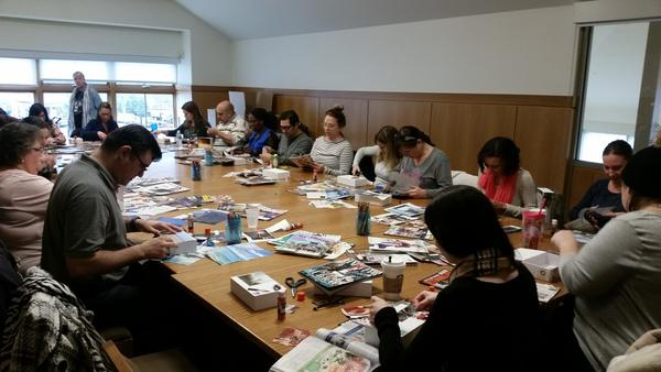 Participants work on their meditation boxes.