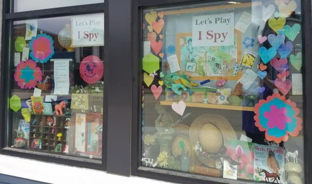 "Photo of the ""I Spy"" windows at Princeton Public Library"