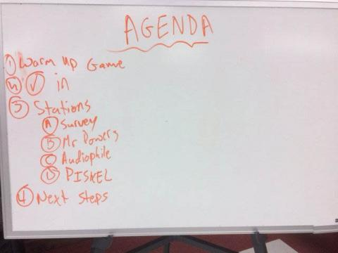 The agenda for a typical day working on the game.