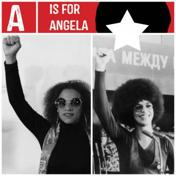 Staff member dressed as Angela Davis
