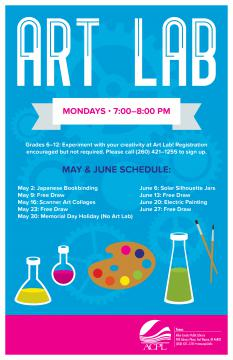 Art Lab Poster with schedule of events