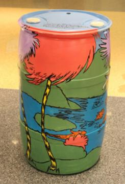 Barrel Inspired by The Lorax: Sean Davis, READ Center Supervisor, 2015