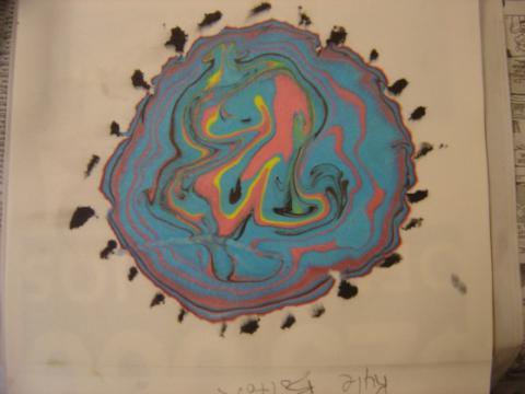 Blue ink print