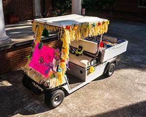 Decorated golf cart for bookmobile