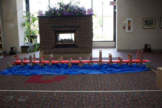 A bridge made from cans.