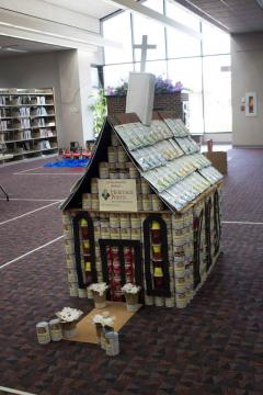 A church made from cans, bagged pasta and jello.