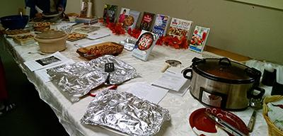 Many attendees brought a dish to the potluck that was featured in one of the library's cookbooks.