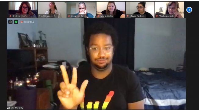 Photo of group of people participating in Deaf Storyslam on Zoom