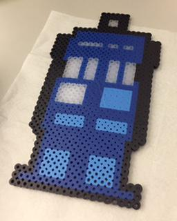 """Dr. Who"" TARDIS craft made from Perler Beads"