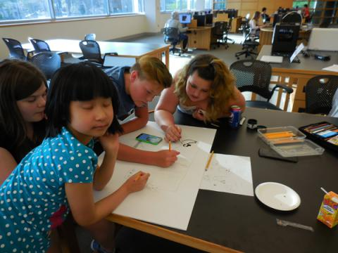 Teens working on electric paint project
