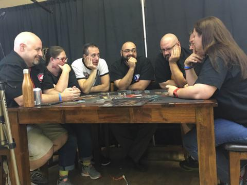 Group gathered around a game