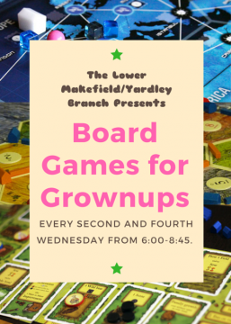 Board Games for Grownups promotional flyer