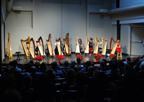 Harpists on stage