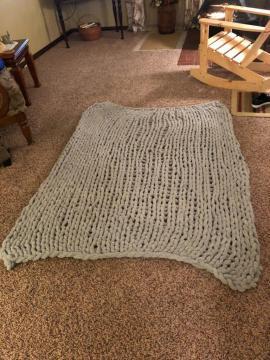 Gray chunky blanket
