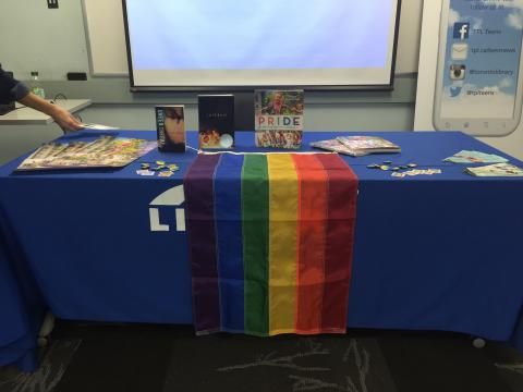A book display during a You Belong drop-in session
