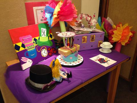 Mad Hatter Tea Party decorated table
