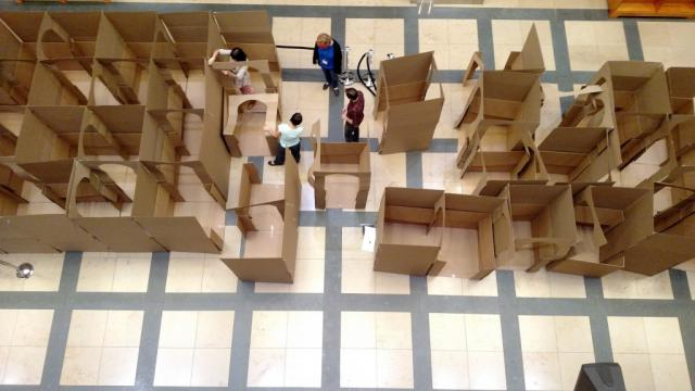The maze being constructed by staff