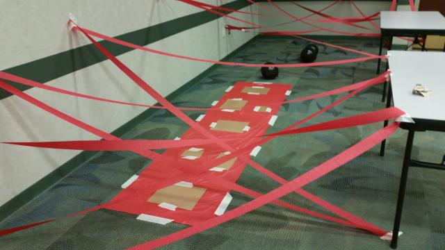 Obstacle course made from crepe paper