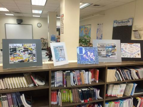 Pieces from the arts education programs are also displayed around the library.