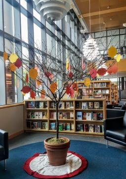Picture of tree in library with paper leaves hanging