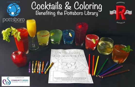 Cocktails & Coloring promo with crayons and cocktail drinks