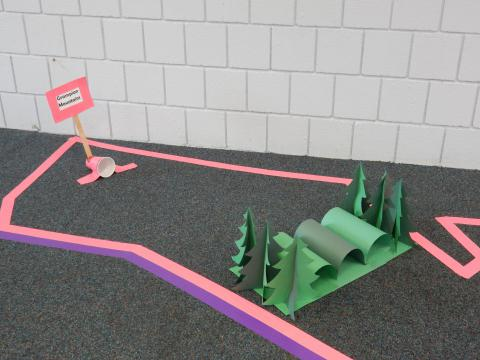 Mini golf course on library floor