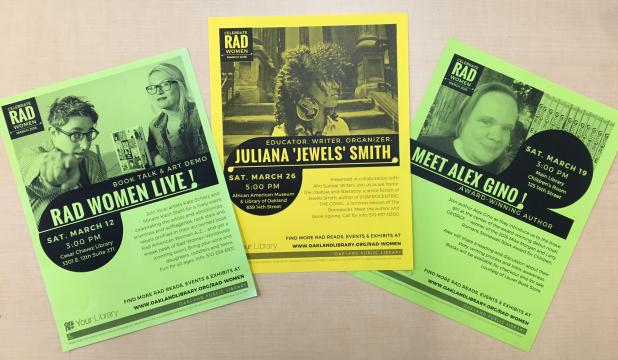 Three flyers from Library's author event programs