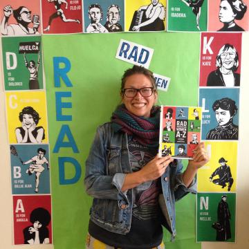Author of Rad Women, Kate Schatz, in the Library's Photo Booth