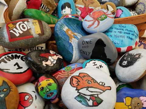 Completed rocks for the Reading Rocks program