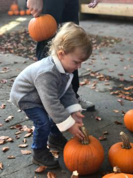 Child picking out a pumpkin