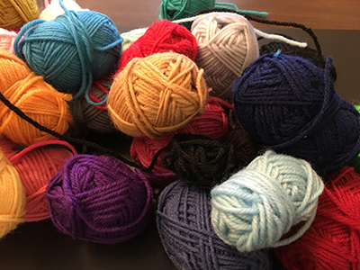 Pile of small yarn balls