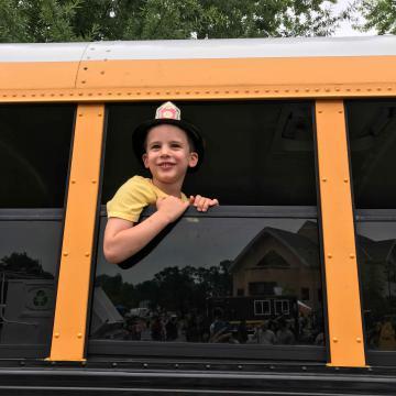 Boy in schoolbus