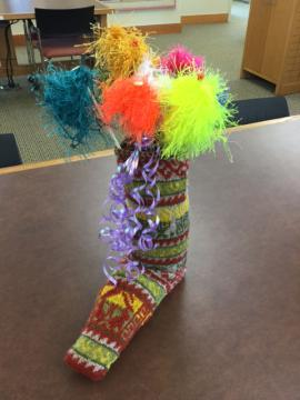 Knitted sock vase