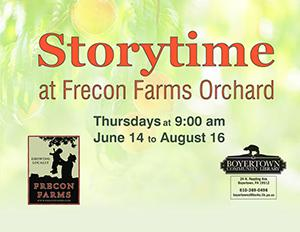 Flyer for Storytime in the Orchard
