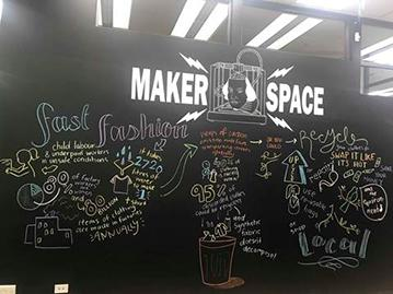 Makerspace wall with chalk illustrations