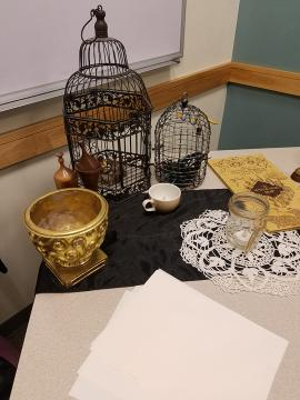 A close up of the props on the table