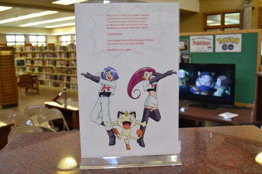 Pokethon signage in the library