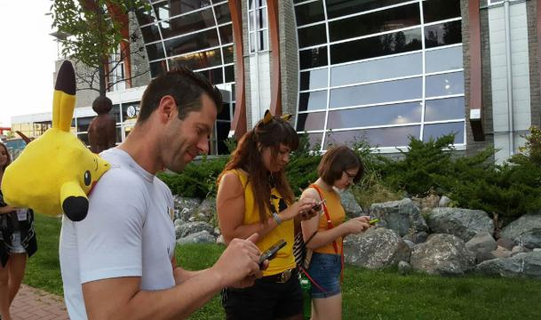 "Tour guides playing ""Pokemon Go"""