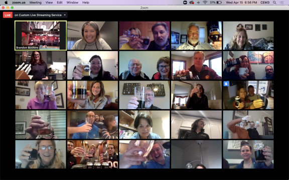 "A screenshot of the participants ""cheers""-ing in the virtual beer tasting Zoom meeting"