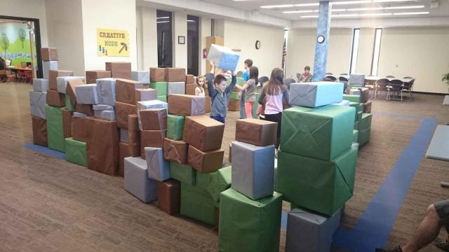 A fort of boxes at Wonder Time.
