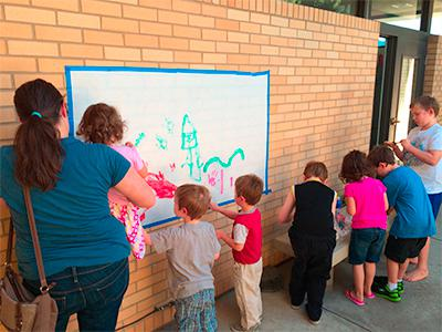 Group working on mural project