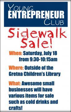 Young Entrepreneur Club sidewalk sale flyer